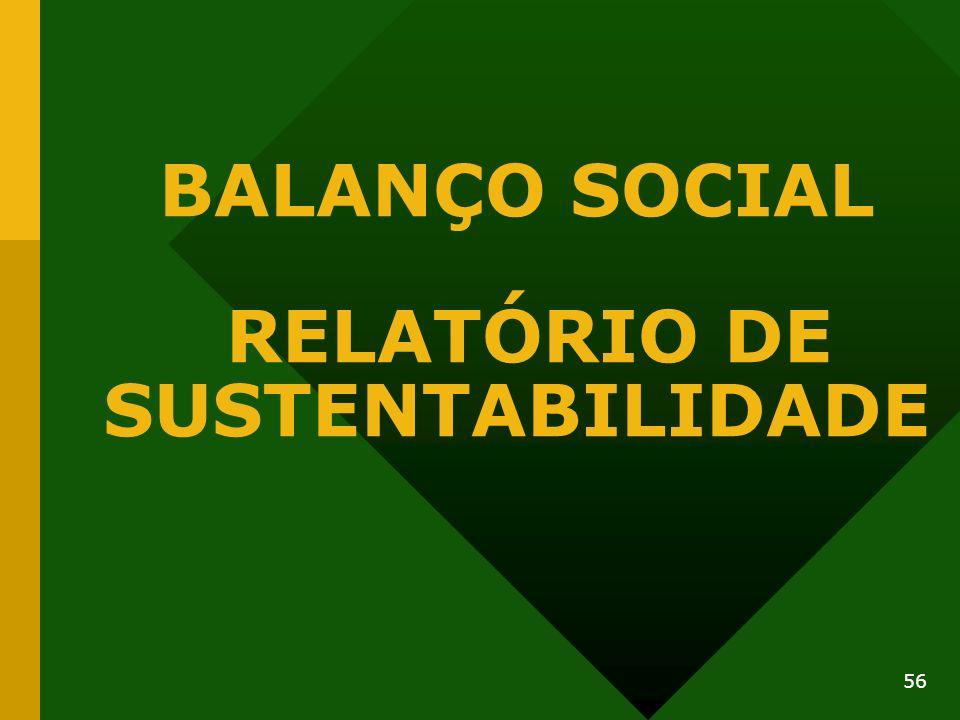 56 BALANÇO SOCIAL RELATÓRIO DE SUSTENTABILIDADE