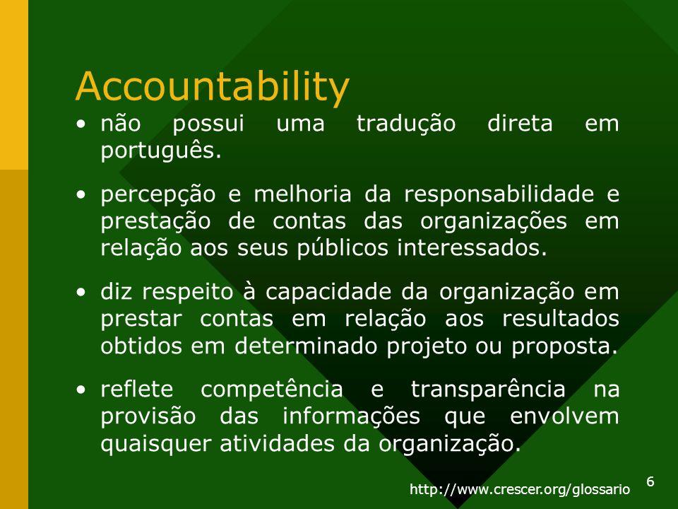 Accountability não possui uma tradução direta em português. percepção e melhoria da responsabilidade e prestação de contas das organizações em relação