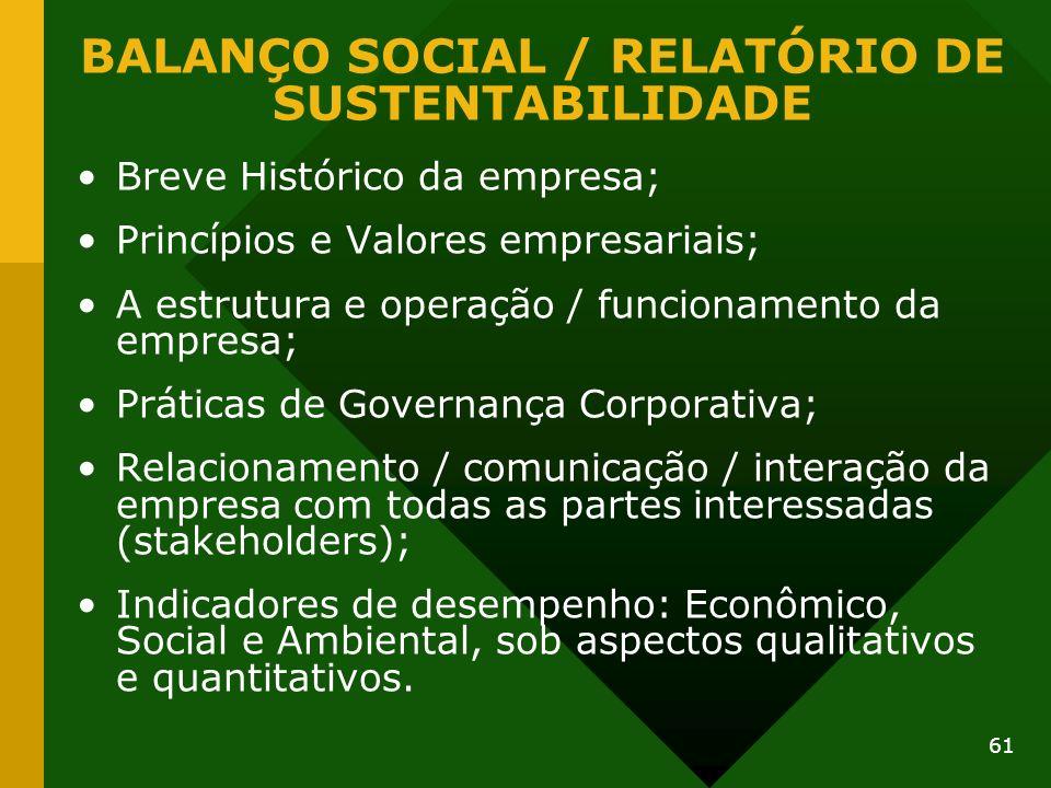 61 Breve Histórico da empresa; Princípios e Valores empresariais; A estrutura e operação / funcionamento da empresa; Práticas de Governança Corporativ