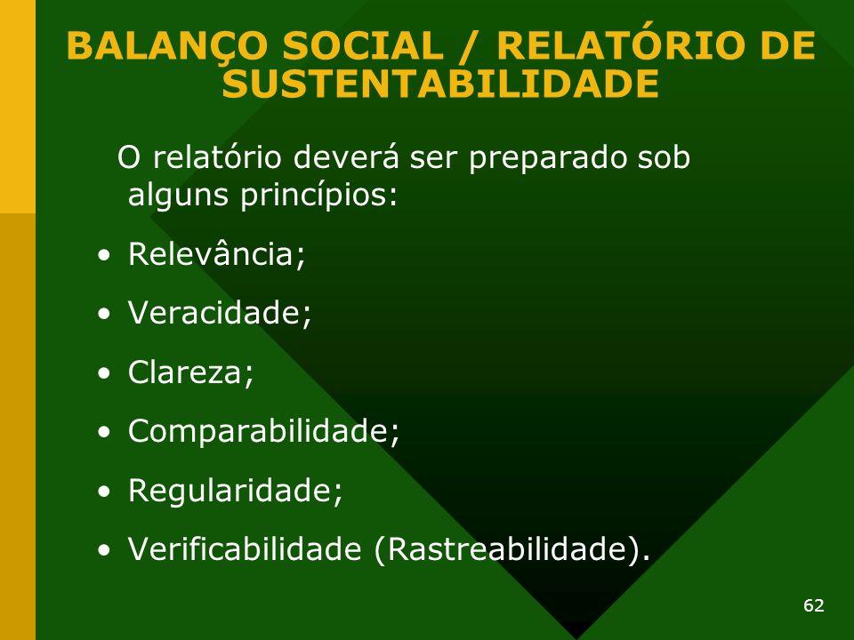 62 O relatório deverá ser preparado sob alguns princípios: Relevância; Veracidade; Clareza; Comparabilidade; Regularidade; Verificabilidade (Rastreabi