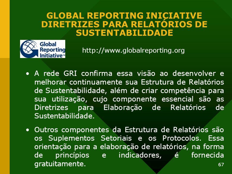 67 GLOBAL REPORTING INICIATIVE DIRETRIZES PARA RELATÓRIOS DE SUSTENTABILIDADE A rede GRI confirma essa visão ao desenvolver e melhorar continuamente s