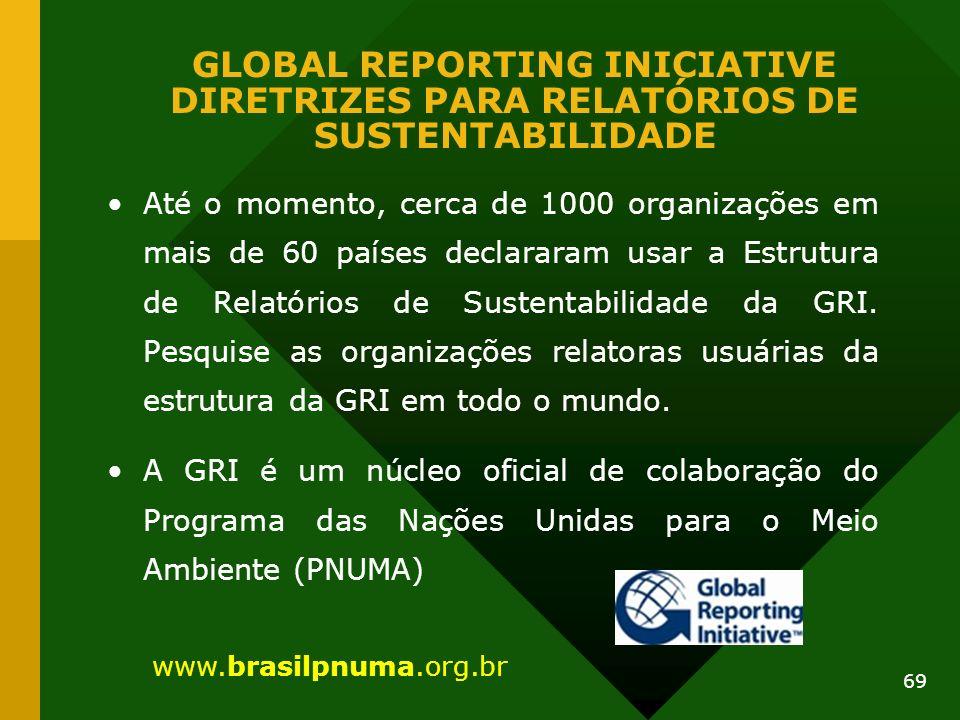 69 GLOBAL REPORTING INICIATIVE DIRETRIZES PARA RELATÓRIOS DE SUSTENTABILIDADE Até o momento, cerca de 1000 organizações em mais de 60 países declarara