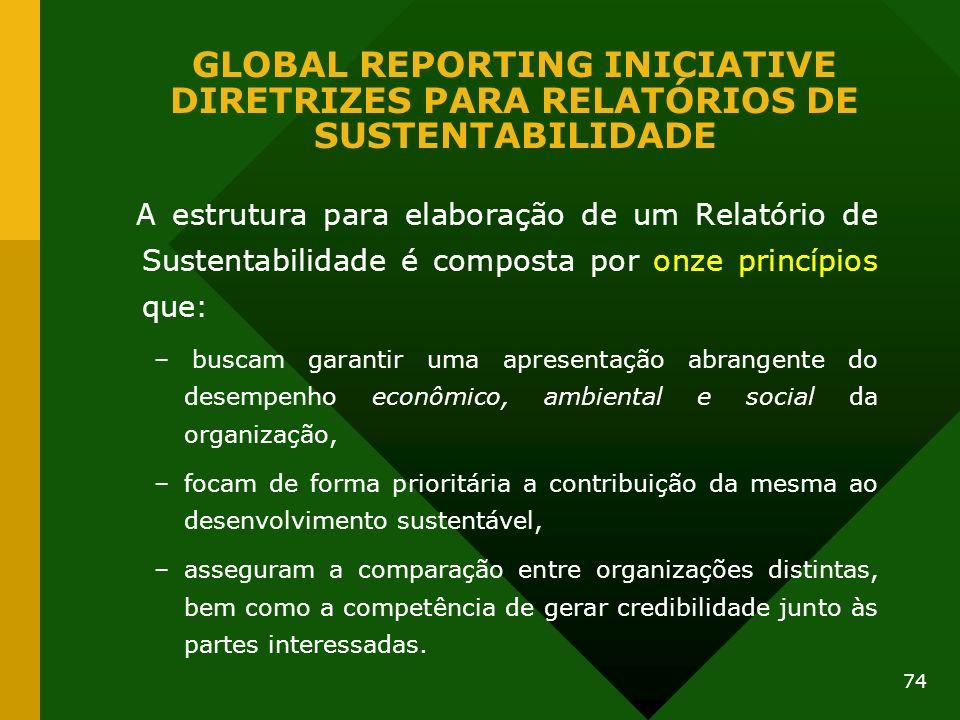 74 GLOBAL REPORTING INICIATIVE DIRETRIZES PARA RELATÓRIOS DE SUSTENTABILIDADE A estrutura para elaboração de um Relatório de Sustentabilidade é compos