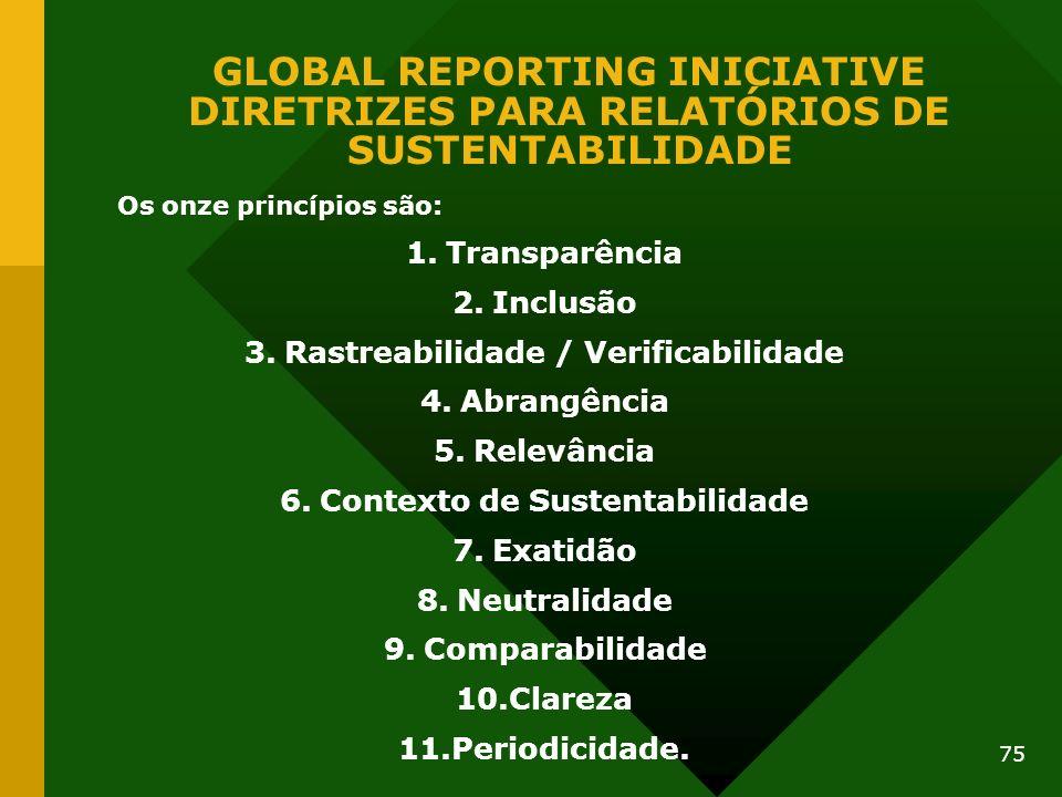 75 GLOBAL REPORTING INICIATIVE DIRETRIZES PARA RELATÓRIOS DE SUSTENTABILIDADE Os onze princípios são: 1.Transparência 2.Inclusão 3.Rastreabilidade / V