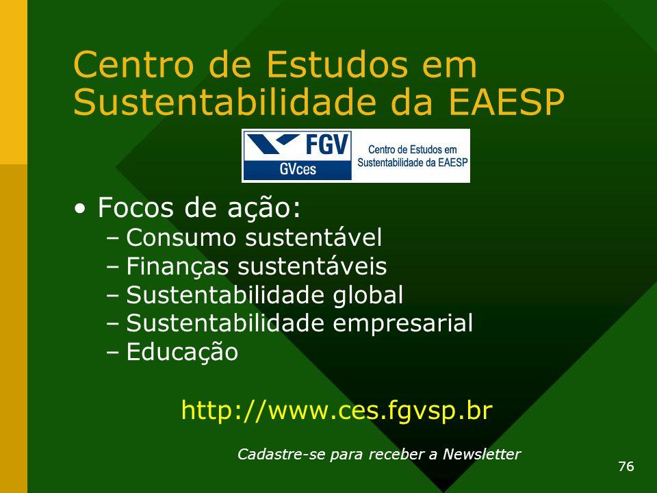Centro de Estudos em Sustentabilidade da EAESP Focos de ação: –Consumo sustentável –Finanças sustentáveis –Sustentabilidade global –Sustentabilidade e