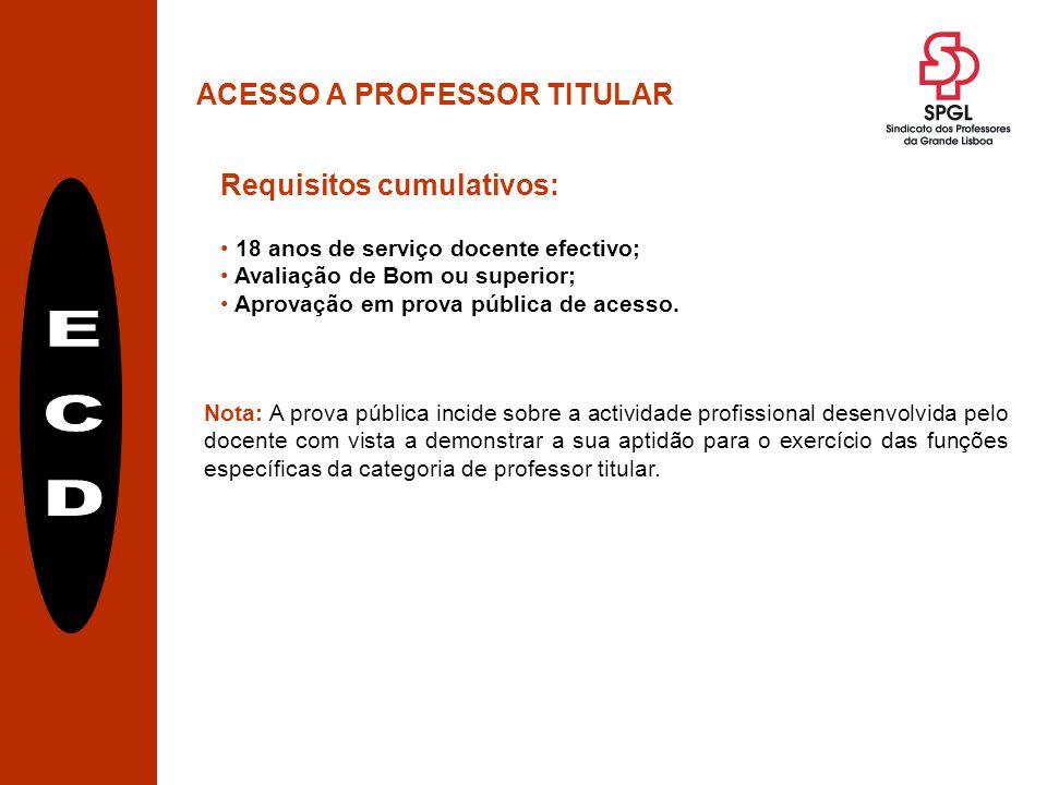 ACESSO A PROFESSOR TITULAR Requisitos cumulativos: 18 anos de serviço docente efectivo; Avaliação de Bom ou superior; Aprovação em prova pública de acesso.