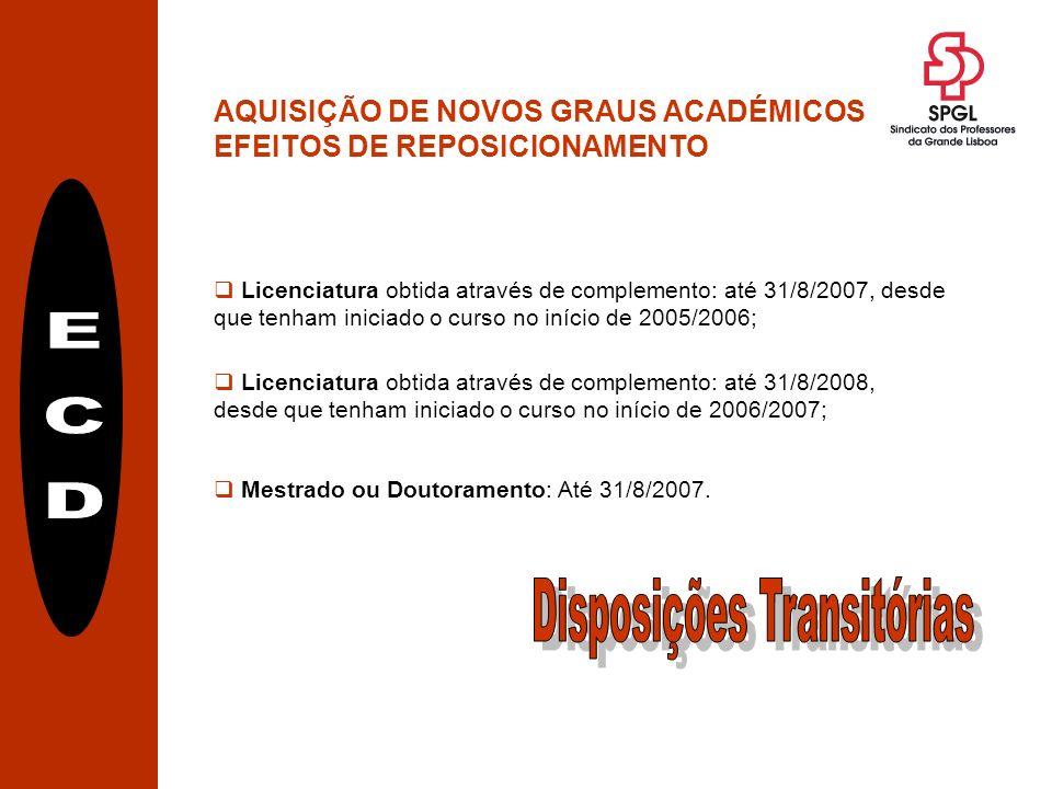 AQUISIÇÃO DE NOVOS GRAUS ACADÉMICOS EFEITOS DE REPOSICIONAMENTO Mestrado ou Doutoramento: Até 31/8/2007.
