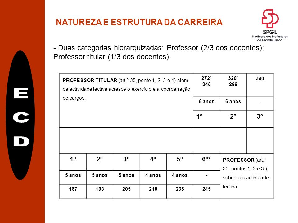 NATUREZA E ESTRUTURA DA CARREIRA - Duas categorias hierarquizadas: Professor (2/3 dos docentes); Professor titular (1/3 dos docentes).