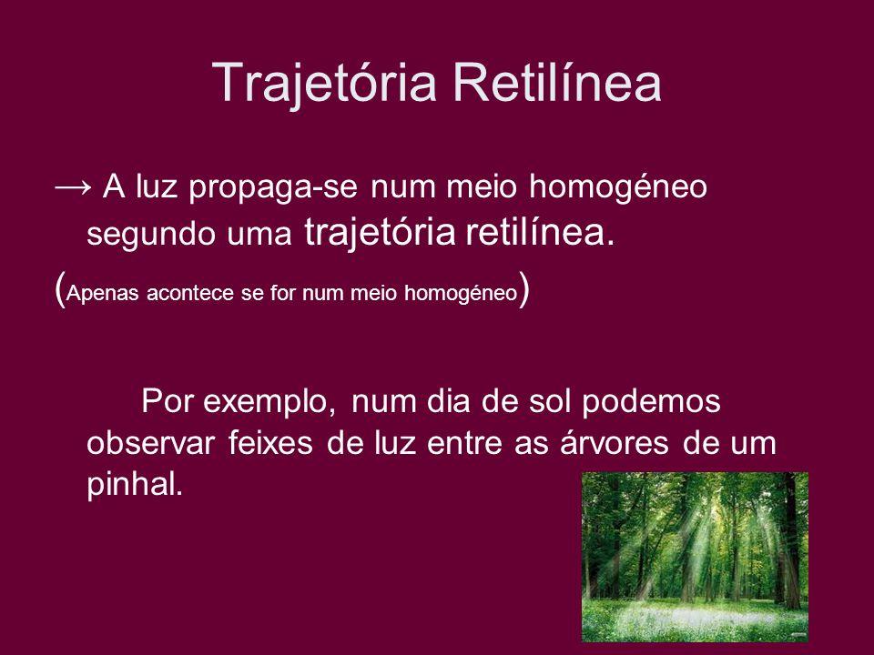 Trajetória Retilínea A luz propaga-se num meio homogéneo segundo uma trajetória retilínea. ( Apenas acontece se for num meio homogéneo ) Por exemplo,