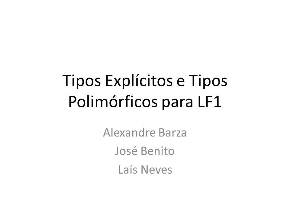 Tipos Explícitos e Tipos Polimórficos para LF1 Alexandre Barza José Benito Laís Neves