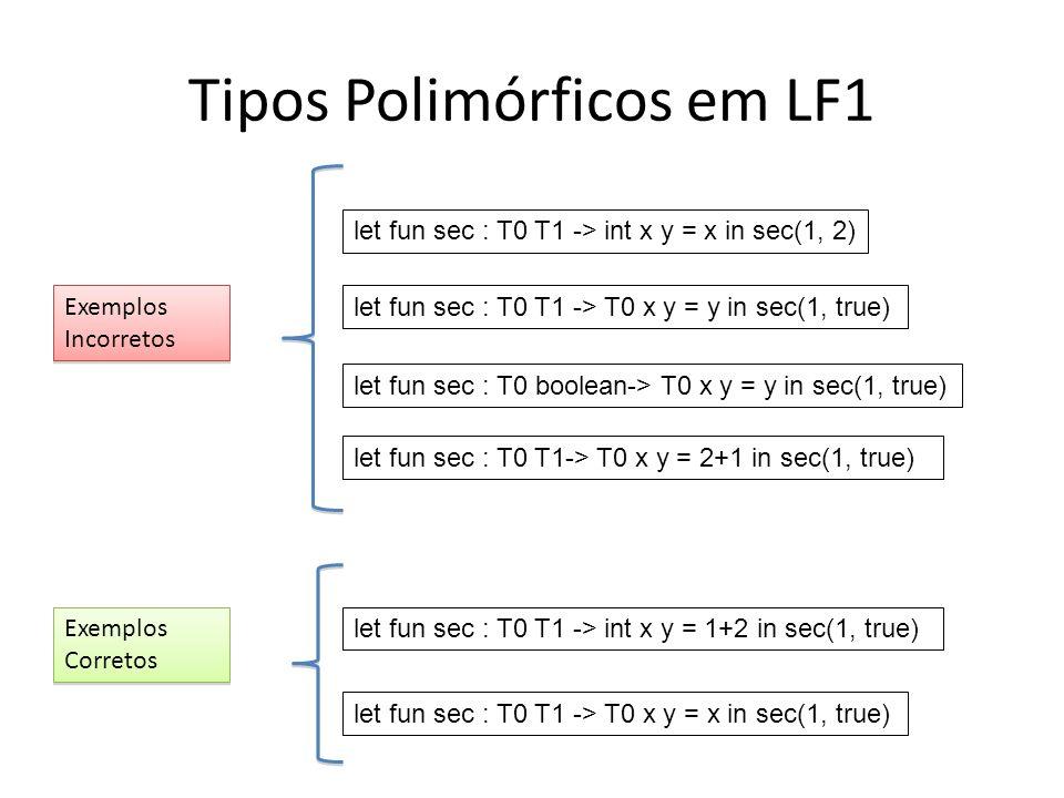 Tipos Polimórficos em LF1 let fun sec : T0 T1 -> int x y = x in sec(1, 2) let fun sec : T0 T1 -> T0 x y = y in sec(1, true) let fun sec : T0 boolean->