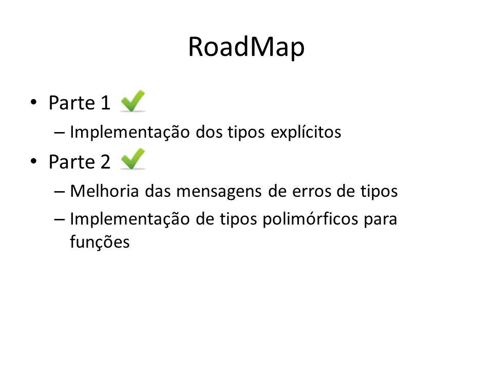 RoadMap Parte 1 – Implementação dos tipos explícitos Parte 2 – Melhoria das mensagens de erros de tipos – Implementação de tipos polimórficos para fun