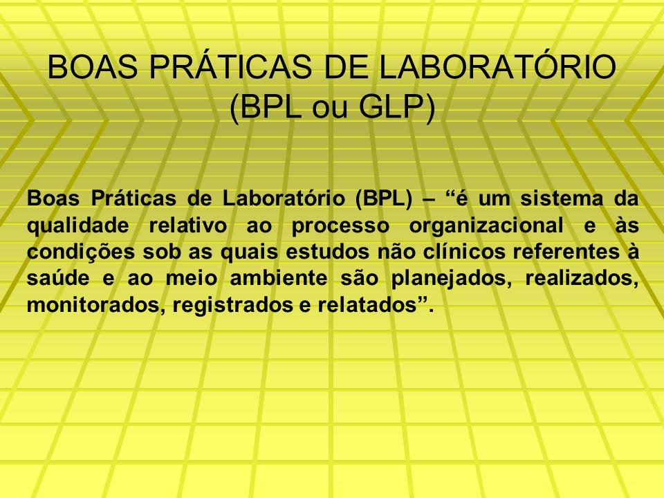 BOAS PRÁTICAS DE LABORATÓRIO (BPL ou GLP) Boas Práticas de Laboratório (BPL) – é um sistema da qualidade relativo ao processo organizacional e às condições sob as quais estudos não clínicos referentes à saúde e ao meio ambiente são planejados, realizados, monitorados, registrados e relatados.