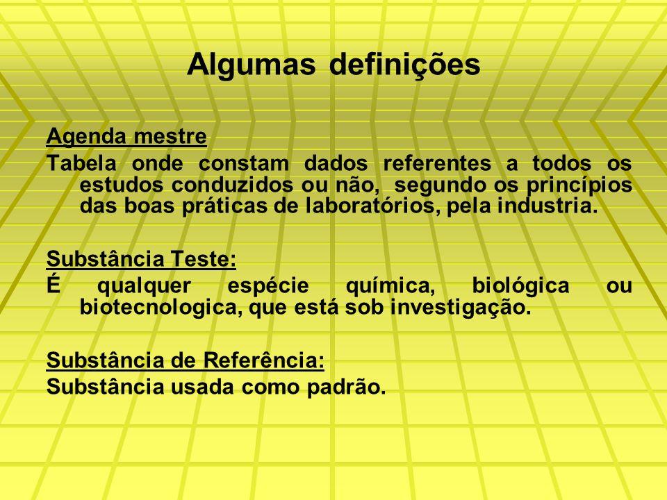 Algumas definições Agenda mestre Tabela onde constam dados referentes a todos os estudos conduzidos ou não, segundo os princípios das boas práticas de laboratórios, pela industria.