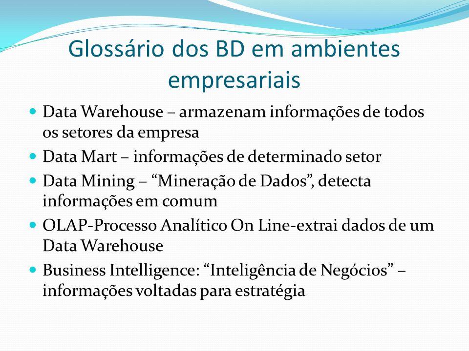 Glossário dos BD em ambientes empresariais Data Warehouse – armazenam informações de todos os setores da empresa Data Mart – informações de determinad