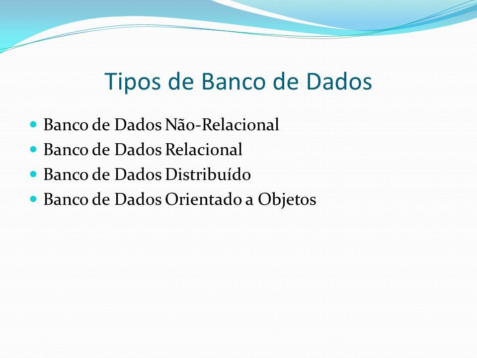 Tipos de Banco de Dados Banco de Dados Não-Relacional Banco de Dados Relacional Banco de Dados Distribuído Banco de Dados Orientado a Objetos