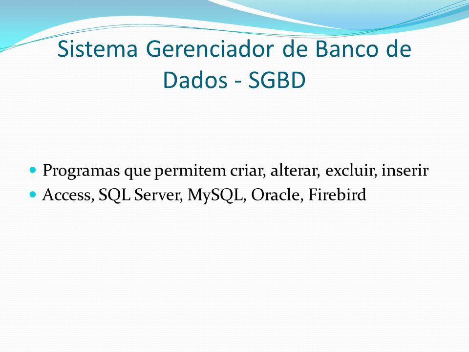 Sistema Gerenciador de Banco de Dados - SGBD Programas que permitem criar, alterar, excluir, inserir Access, SQL Server, MySQL, Oracle, Firebird