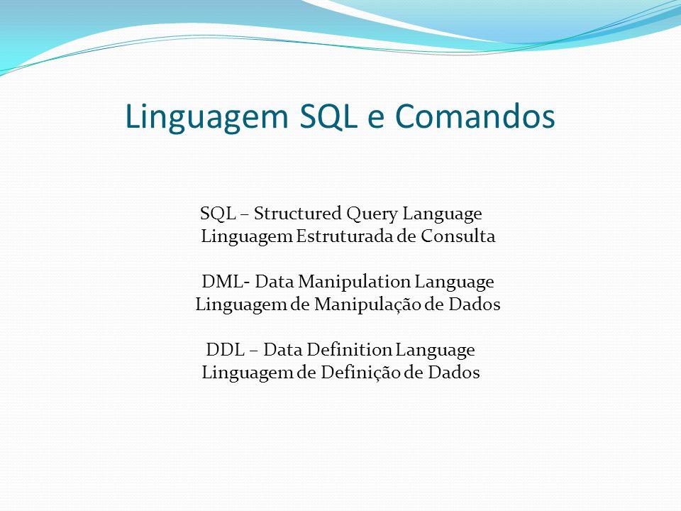 Linguagem SQL e Comandos SQL – Structured Query Language Linguagem Estruturada de Consulta DML- Data Manipulation Language Linguagem de Manipulação de Dados DDL – Data Definition Language Linguagem de Definição de Dados