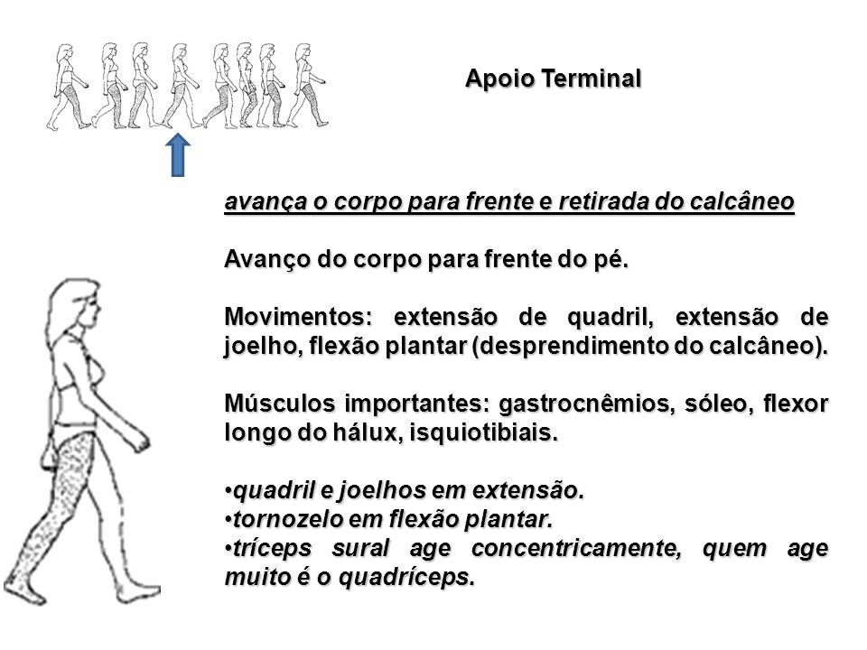 Apoio Terminal avança o corpo para frente e retirada do calcâneo Avanço do corpo para frente do pé. Movimentos: extensão de quadril, extensão de joelh