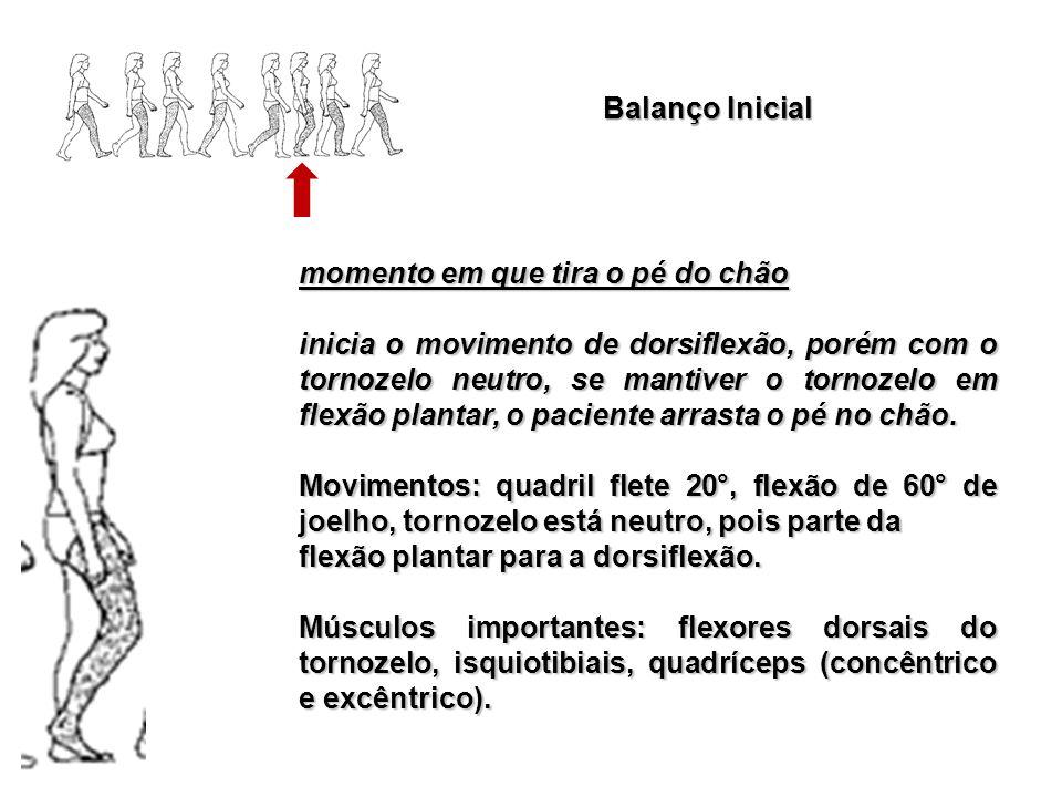 Balanço Inicial momento em que tira o pé do chão inicia o movimento de dorsiflexão, porém com o tornozelo neutro, se mantiver o tornozelo em flexão pl