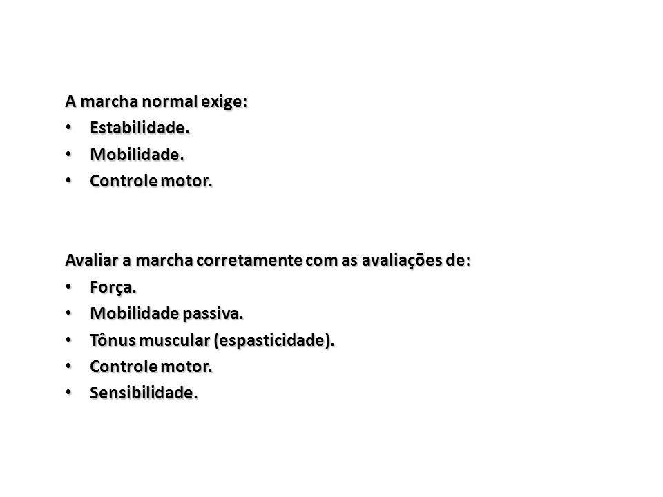 A marcha normal exige: Estabilidade. Estabilidade. Mobilidade. Mobilidade. Controle motor. Controle motor. Avaliar a marcha corretamente com as avalia