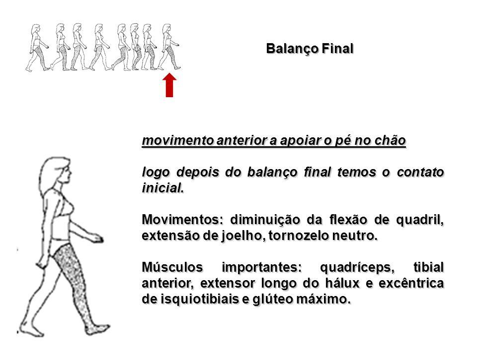 Balanço Final movimento anterior a apoiar o pé no chão logo depois do balanço final temos o contato inicial. Movimentos: diminuição da flexão de quadr