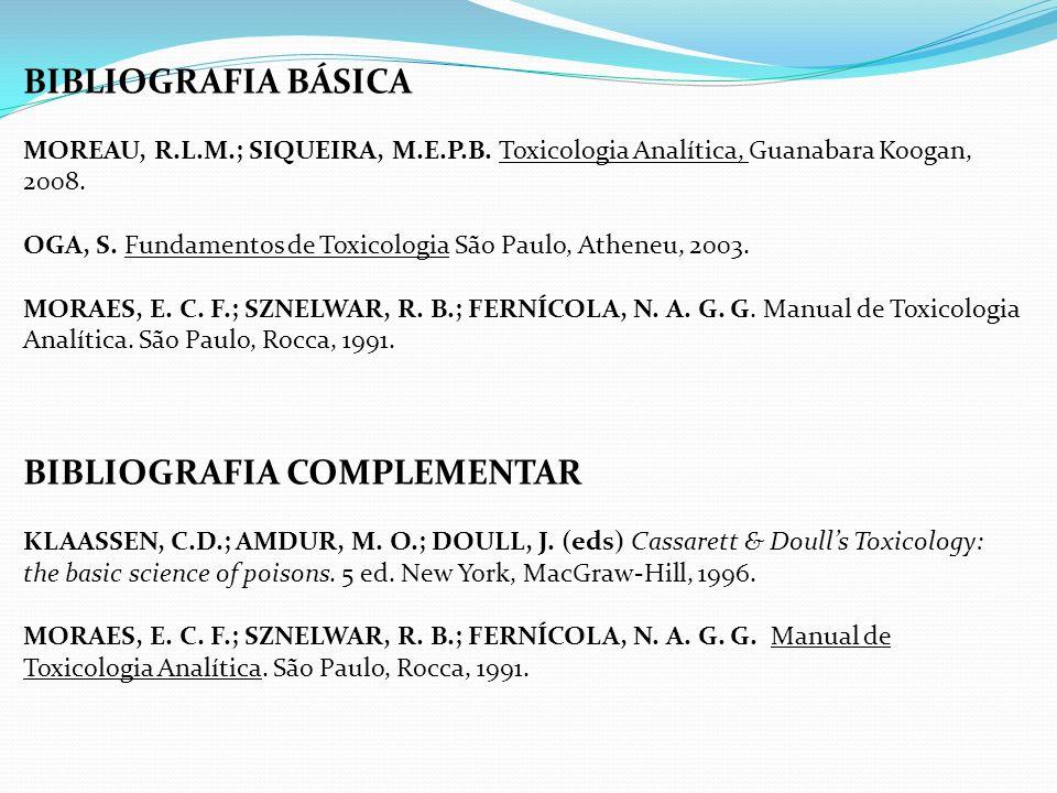 BIBLIOGRAFIA BÁSICA MOREAU, R.L.M.; SIQUEIRA, M.E.P.B. Toxicologia Analítica, Guanabara Koogan, 2008. OGA, S. Fundamentos de Toxicologia São Paulo, At