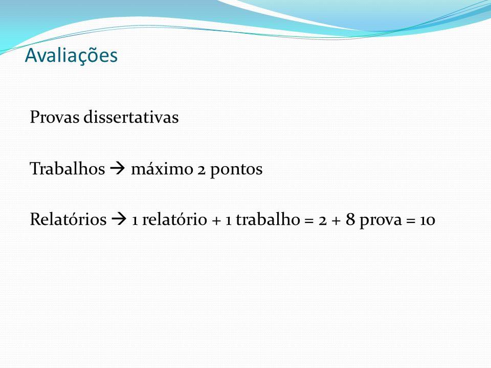 Avaliações Provas dissertativas Trabalhos máximo 2 pontos Relatórios 1 relatório + 1 trabalho = 2 + 8 prova = 10