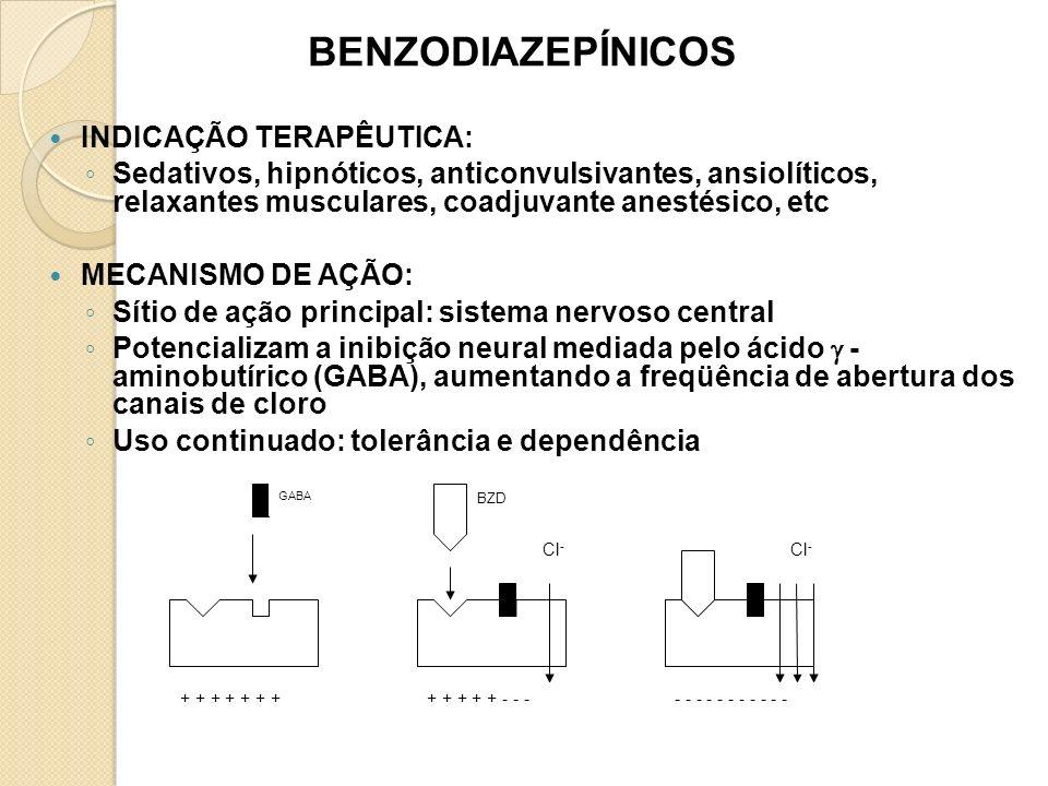 BENZODIAZEPÍNICOS: TOXICOCINÉTICA ABSORÇÃO Bem absorvidos no tubo gastrintestinal Concentração máxima plasma: de 30 min a 2 h DISTRIBUIÇÃO A maioria se liga fortemente a proteínas plasmáticas (Diazepam - 98 a 99%); podem acumular-se na gordura BIOTRANSFORMAÇÃO Hepática, P450 (oxidação) - subprodutos ativos e inativos.