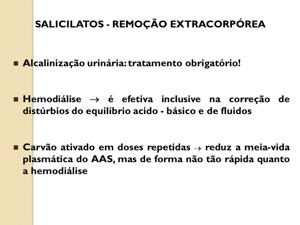 SALICILATOS - REMOÇÃO EXTRACORPÓREA Alcalinização urinária: tratamento obrigatório! Hemodiálise é efetiva inclusive na correção de distúrbios do equil