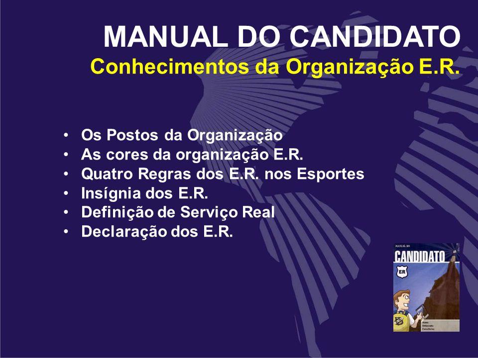 Conhecimentos da Organização E.R. Os Postos da Organização As cores da organização E.R. Quatro Regras dos E.R. nos Esportes Insígnia dos E.R. Definiçã