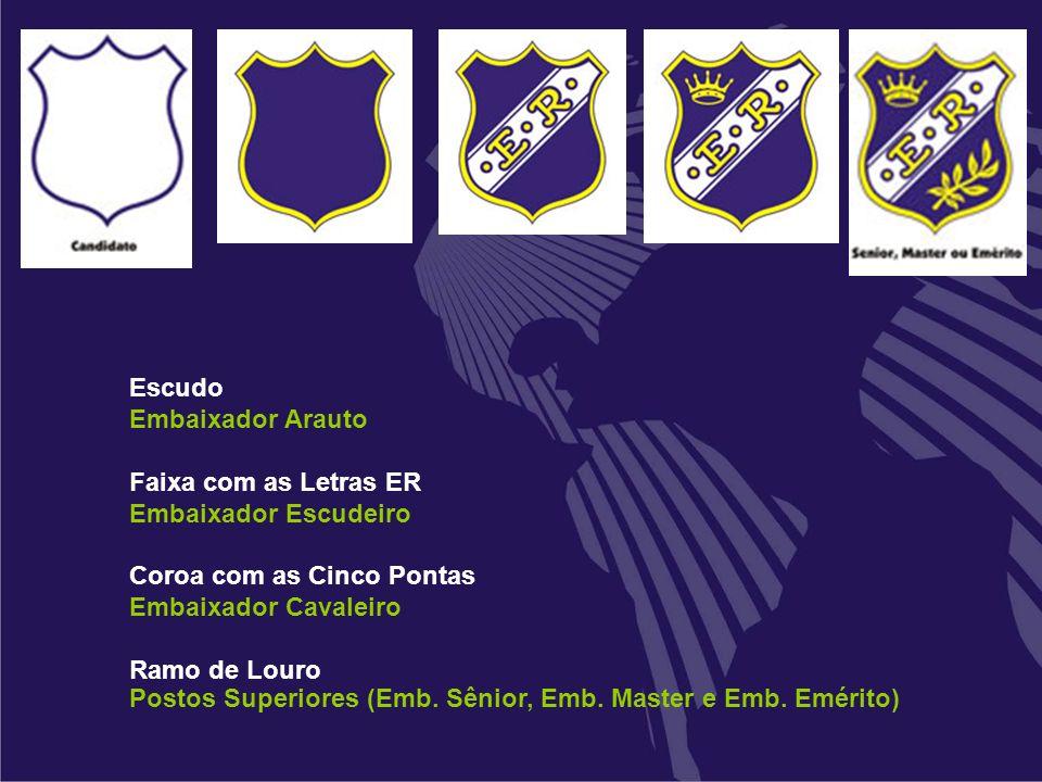 Escudo Embaixador Arauto Faixa com as Letras ER Embaixador Escudeiro Coroa com as Cinco Pontas Embaixador Cavaleiro Ramo de Louro Postos Superiores (E