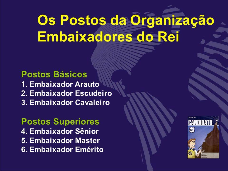 Os Postos da Organização Embaixadores do Rei Postos Básicos 1. Embaixador Arauto 2. Embaixador Escudeiro 3. Embaixador Cavaleiro Postos Superiores 4.