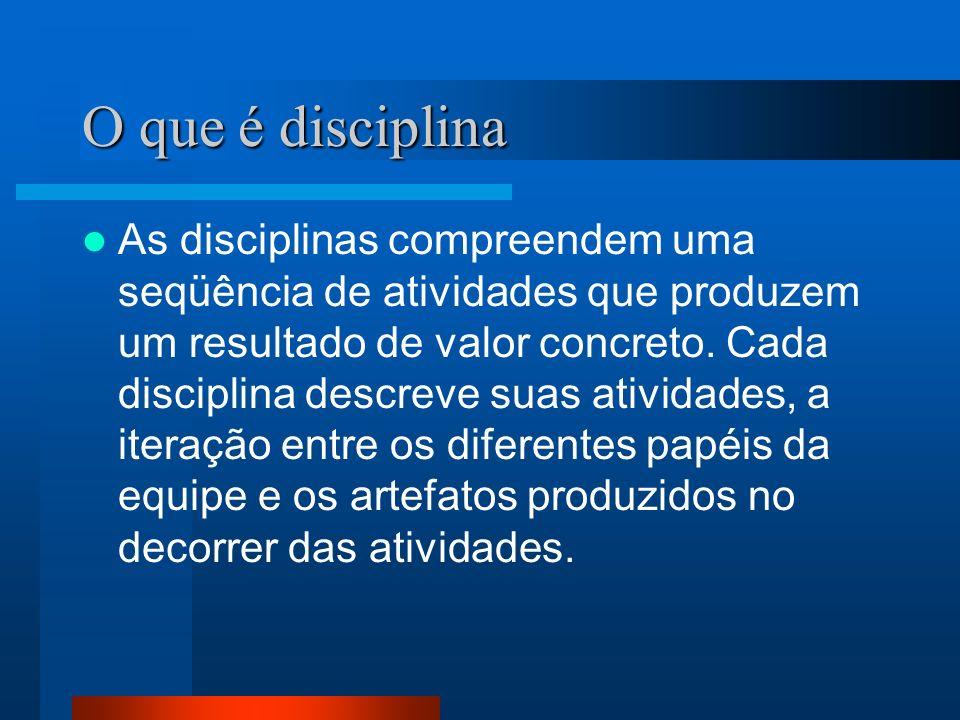 O que é disciplina As disciplinas compreendem uma seqüência de atividades que produzem um resultado de valor concreto. Cada disciplina descreve suas a