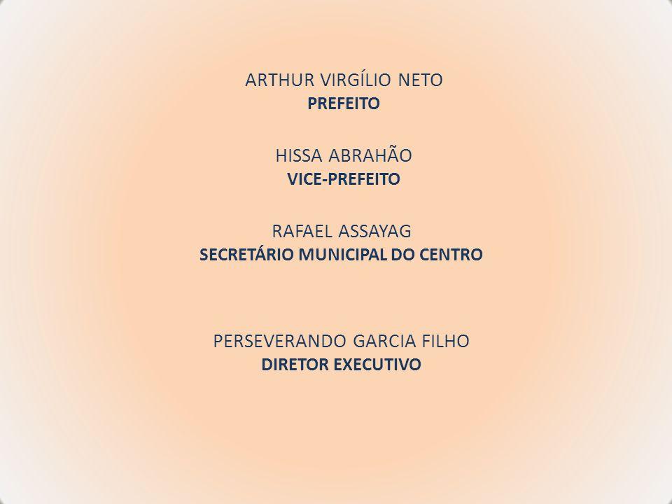 ARTHUR VIRGÍLIO NETO PREFEITO HISSA ABRAHÃO VICE-PREFEITO RAFAEL ASSAYAG SECRETÁRIO MUNICIPAL DO CENTRO PERSEVERANDO GARCIA FILHO DIRETOR EXECUTIVO
