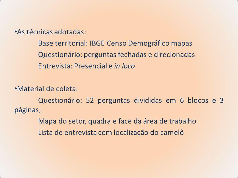 As técnicas adotadas: Base territorial: IBGE Censo Demográfico mapas Questionário: perguntas fechadas e direcionadas Entrevista: Presencial e in loco