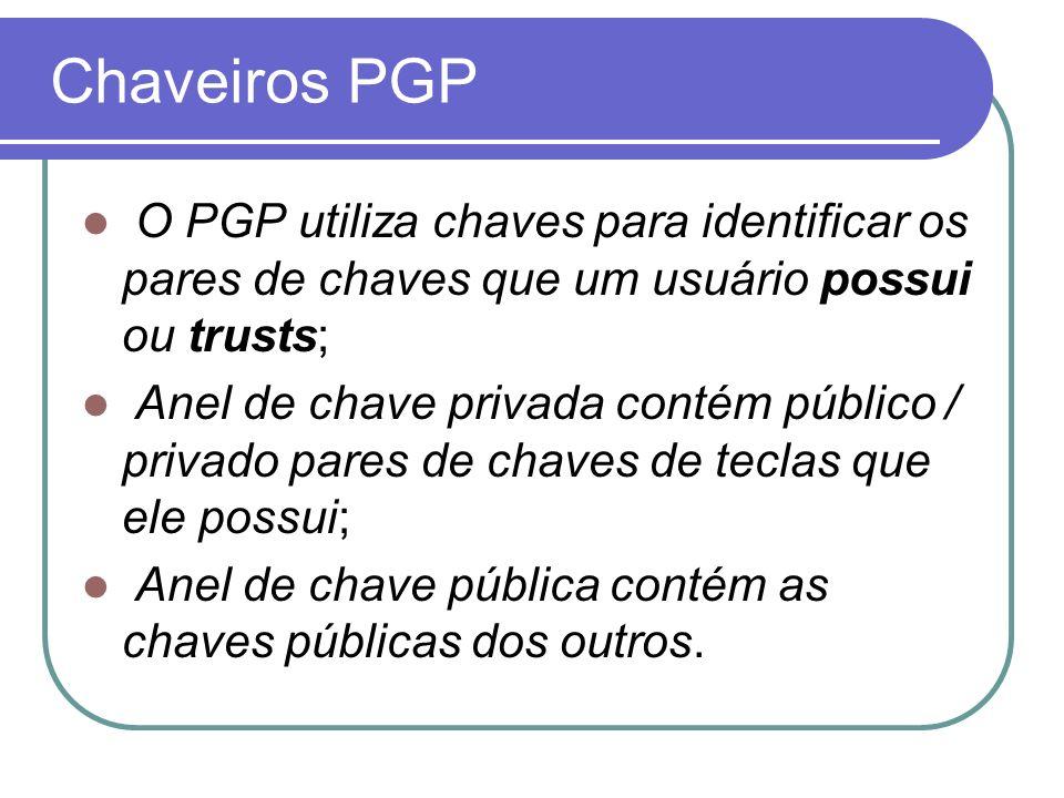 Chaveiros PGP O PGP utiliza chaves para identificar os pares de chaves que um usuário possui ou trusts; Anel de chave privada contém público / privado