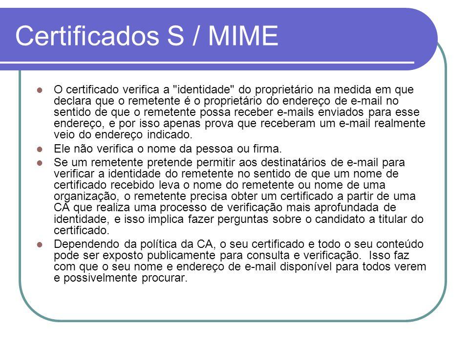 Certificados S / MIME O certificado verifica a
