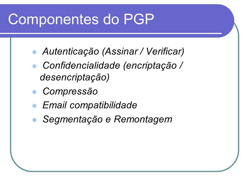 Componentes do PGP Autenticação (Assinar / Verificar) Confidencialidade (encriptação / desencriptação) Compressão Email compatibilidade Segmentação e