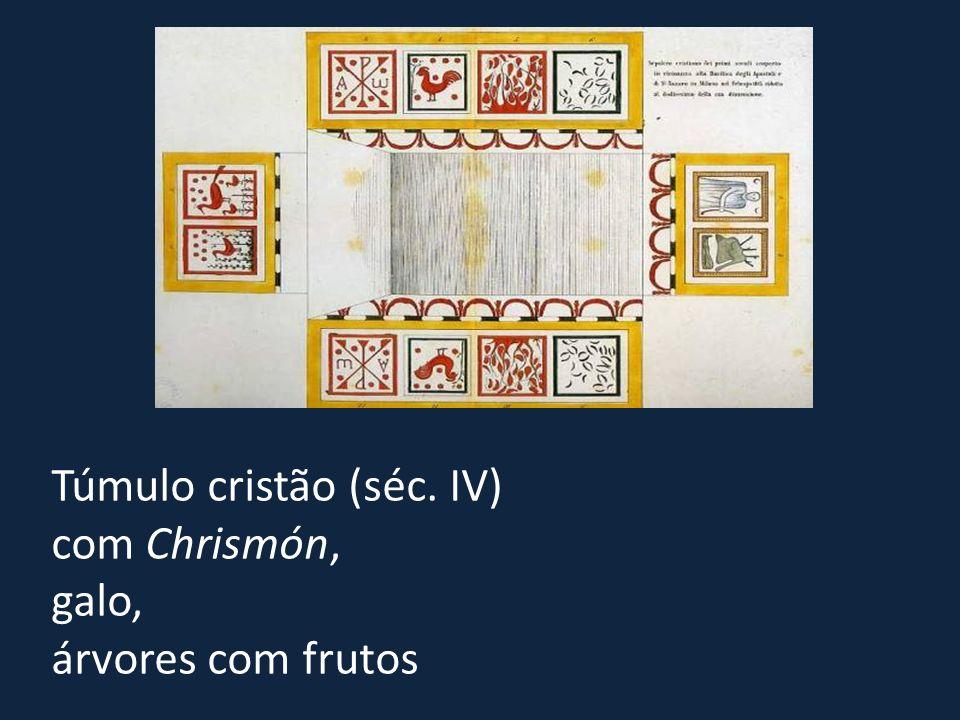 Túmulo cristão (séc. IV) com Chrismón, galo, árvores com frutos