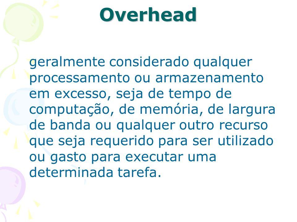 Overhead geralmente considerado qualquer processamento ou armazenamento em excesso, seja de tempo de computação, de memória, de largura de banda ou qu