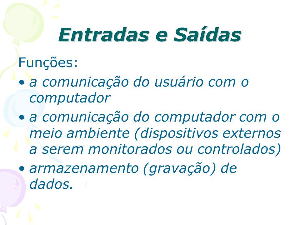 Entradas e Saídas Funções: a comunicação do usuário com o computador a comunicação do computador com o meio ambiente (dispositivos externos a serem mo