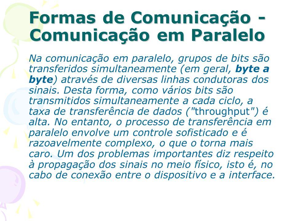 Formas de Comunicação - Comunicação em Paralelo Na comunicação em paralelo, grupos de bits são transferidos simultaneamente (em geral, byte a byte) at