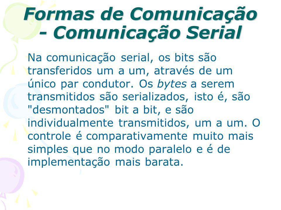 Formas de Comunicação - Comunicação Serial Na comunicação serial, os bits são transferidos um a um, através de um único par condutor. Os bytes a serem