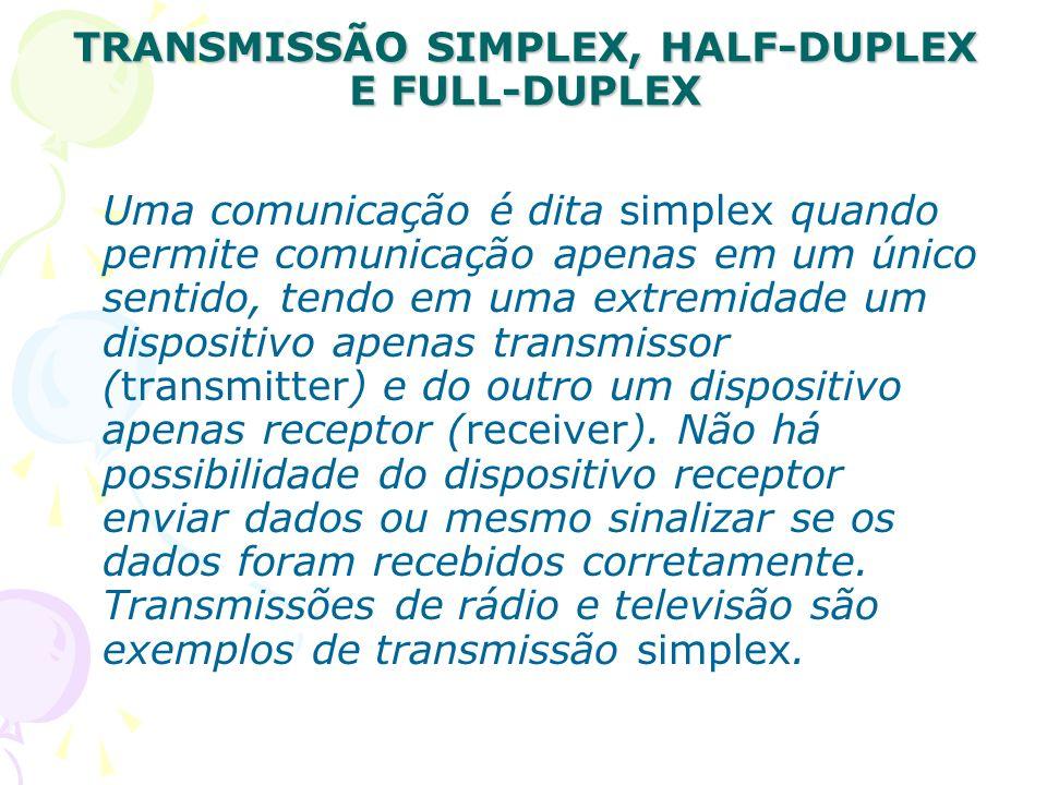 TRANSMISSÃO SIMPLEX, HALF-DUPLEX E FULL-DUPLEX Uma comunicação é dita simplex quando permite comunicação apenas em um único sentido, tendo em uma extr