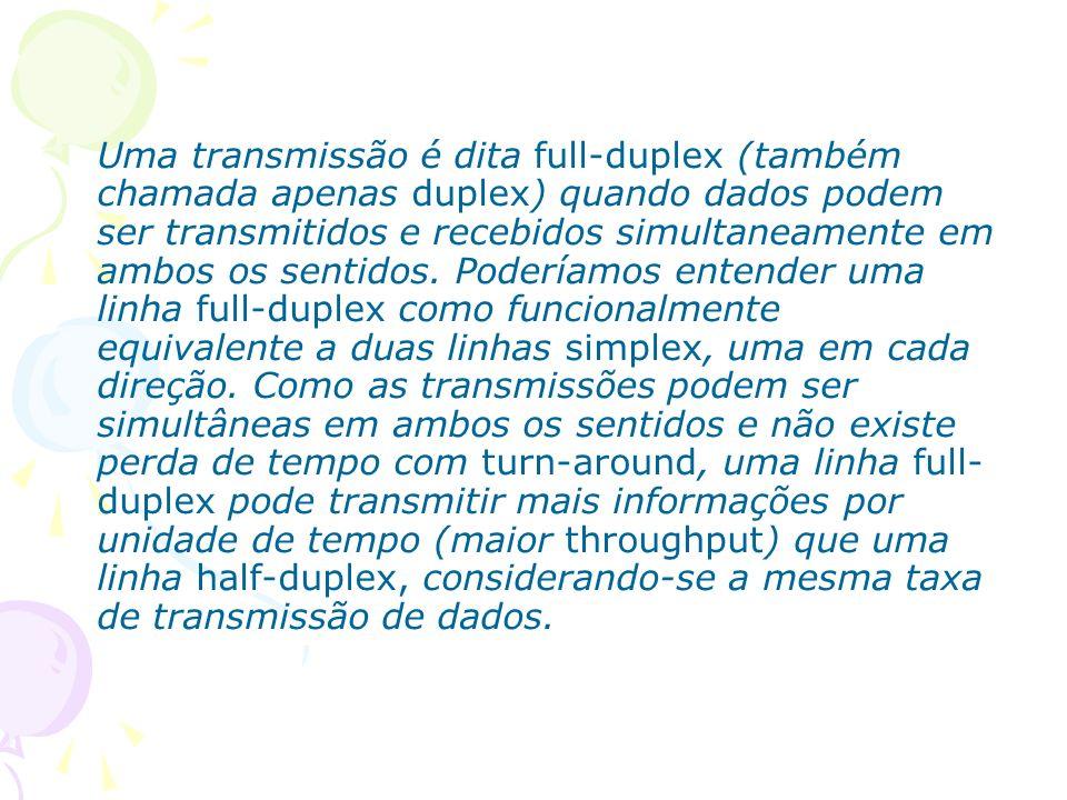 Uma transmissão é dita full-duplex (também chamada apenas duplex) quando dados podem ser transmitidos e recebidos simultaneamente em ambos os sentidos