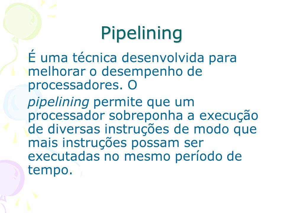Pipelining É uma técnica desenvolvida para melhorar o desempenho de processadores. O pipelining permite que um processador sobreponha a execução de di