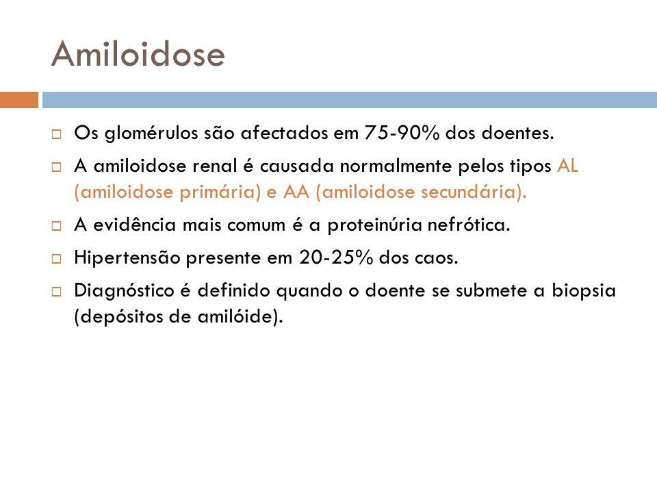 Amiloidose Os glomérulos são afectados em 75-90% dos doentes. A amiloidose renal é causada normalmente pelos tipos AL (amiloidose primária) e AA (amil
