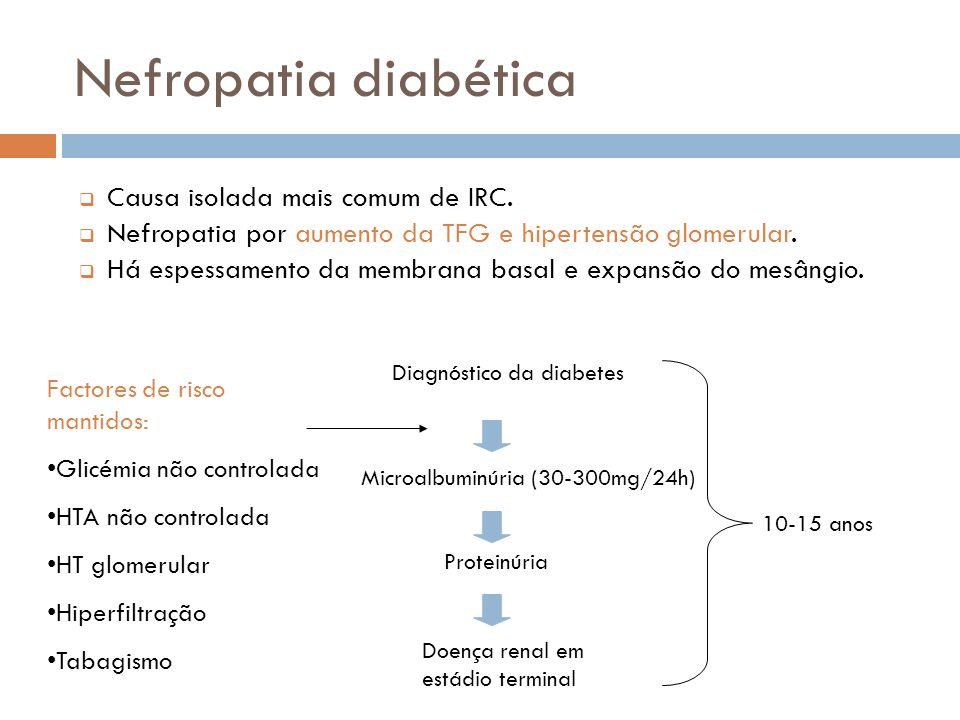 Causa isolada mais comum de IRC. Nefropatia por aumento da TFG e hipertensão glomerular. Há espessamento da membrana basal e expansão do mesângio. Mic