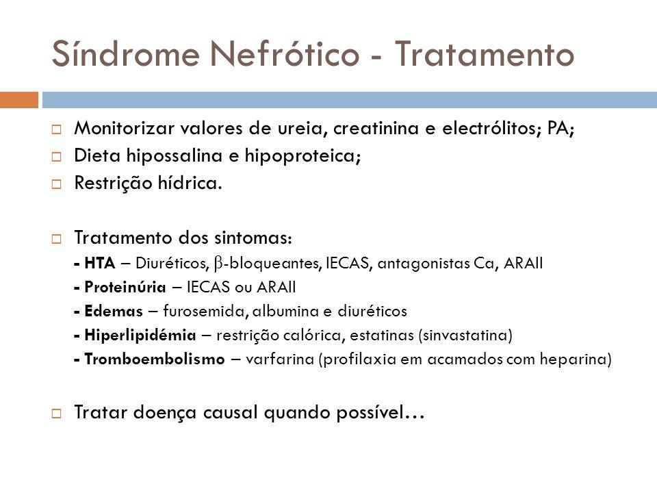Síndrome Nefrótico - Tratamento Monitorizar valores de ureia, creatinina e electrólitos; PA; Dieta hipossalina e hipoproteica; Restrição hídrica. Trat
